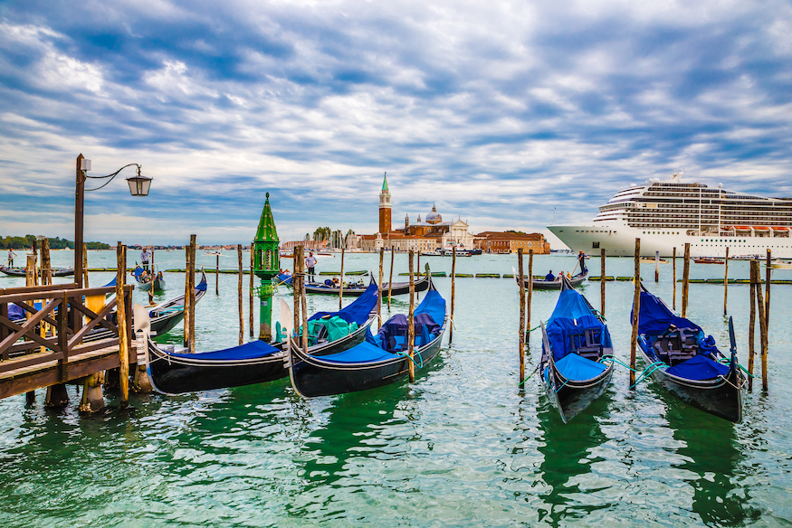 Gondolas With Cruise Ship And San Giorgio Maggiore Island In The Background - Venice, Veneto, Italy,