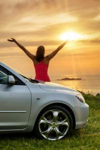 Car Traveler Looking Summer Sunset
