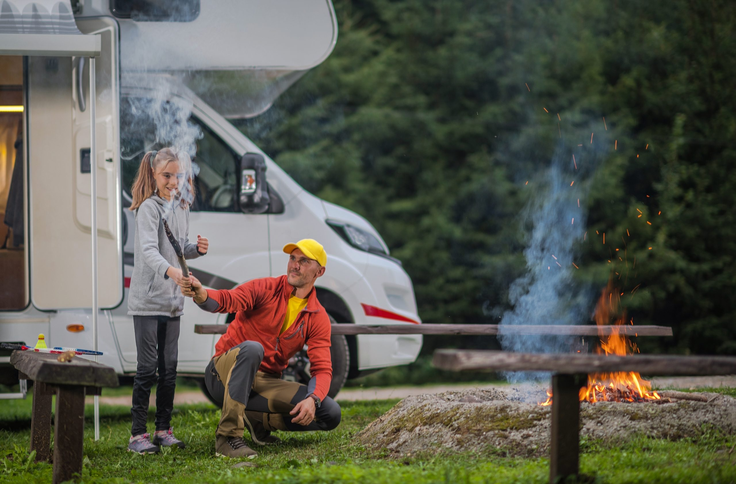 Summer Family Rv Camp. Father Having Fun With His Daughter ...